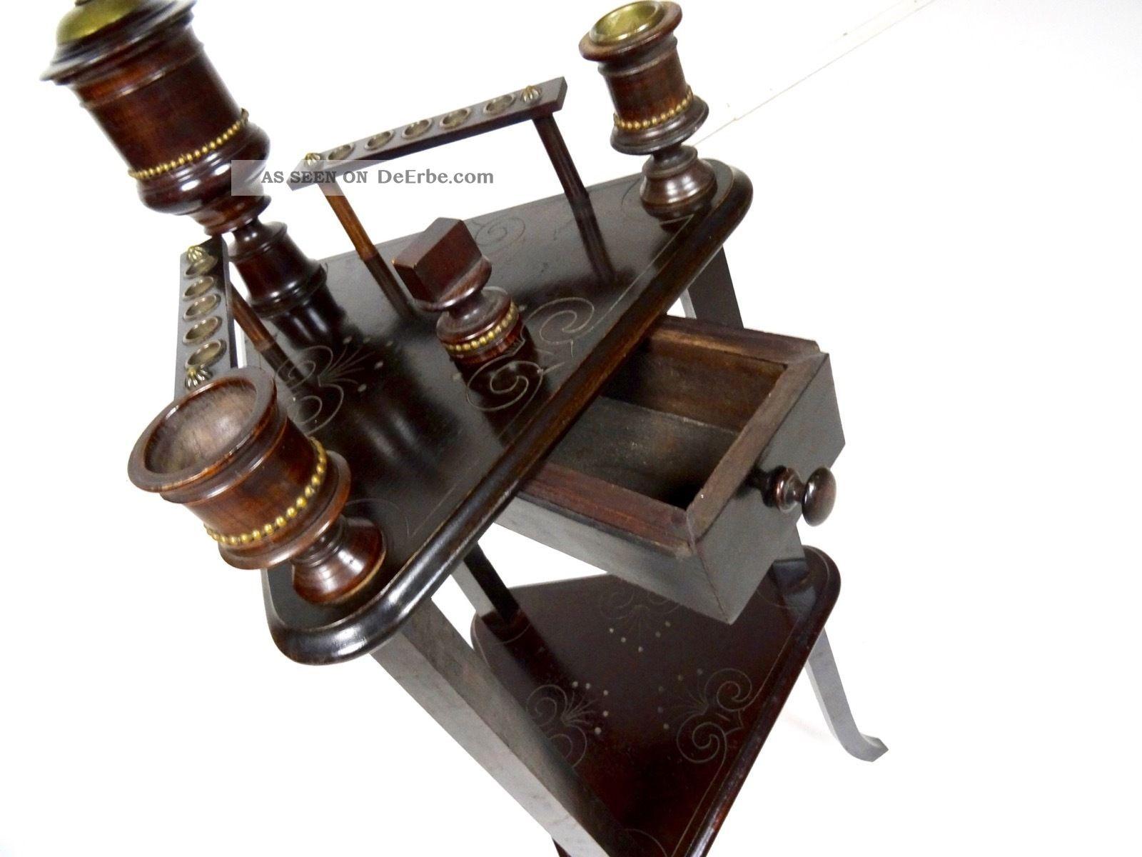 Jugendstil Rauchertisch Beistelltisch Antik Eiche Tischchen Tabak 1890-1919, Jugendstil Bild