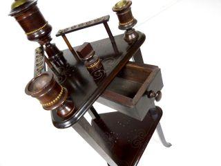 Jugendstil Rauchertisch Beistelltisch Antik Eiche Tischchen Tabak Bild