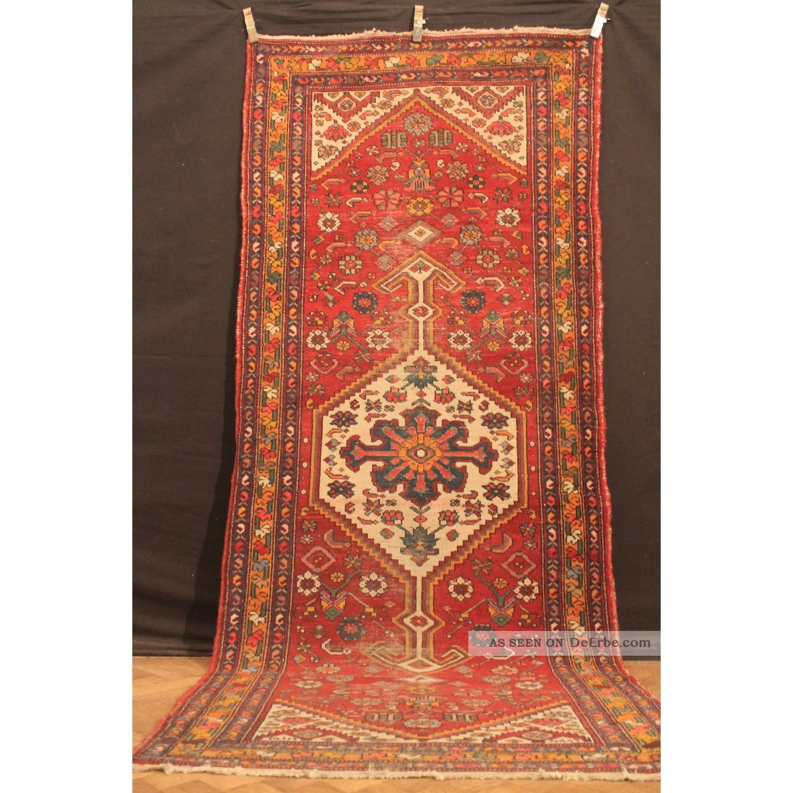 Alt Handgeknüpfter Orient Teppich Malaya Heris Old Rug Carpet Tappeto 310x126cm Teppiche & Flachgewebe Bild