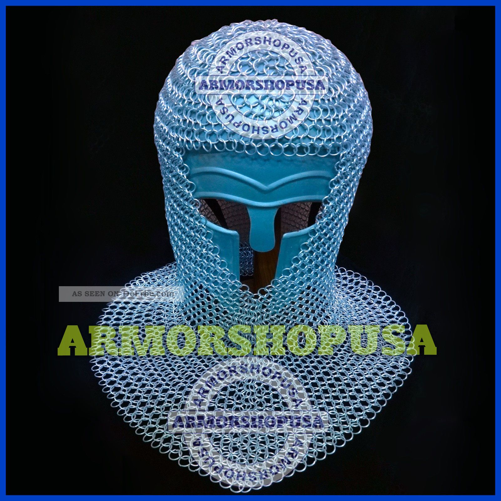 Kopfhaube Kettenhemd Aus Aluminium Kettenhaube Mittelalter Rüstung Kostüm Coif Antike Bild