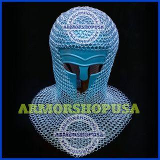 Kopfhaube Kettenhemd Aus Aluminium Kettenhaube Mittelalter Rüstung Kostüm Coif Bild
