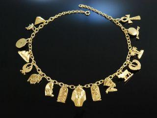Pharao Necklace Kette Silber Vergoldet Ägyptische Motive England Um 1940 Vintage Bild