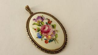 AnhÄnger Silber 925 Porzellan Blumenbukett Motiv D.  Dresden Antik Bild