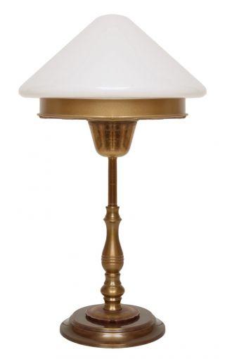 Zierliche Art Déco Tischlampe Messing Pilzlampe Opalglas Einzelstück Bild