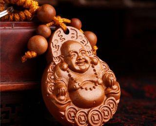 Exquisite Holzanhänger Buddha Schlüsselanhänger Keyring Amulett Schnitzen Bild