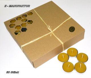 60 X Teelichter Aus 100 Bienenwachs In Silbernen Aluschalen,  Brenndauer 5 St. Bild