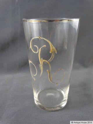 Altes Glas Mit Emaillemalerei Trinkglas Monogramm