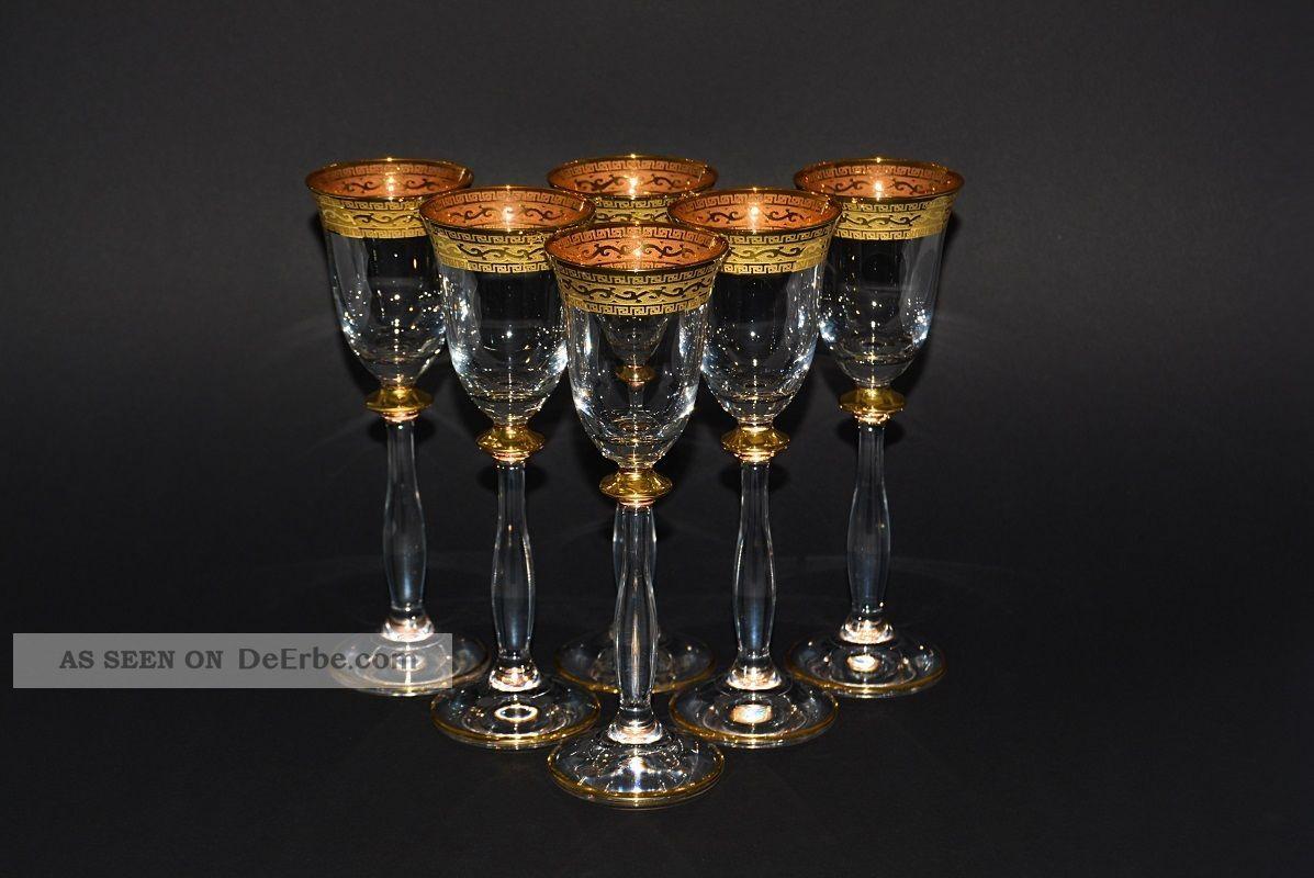 6 Wodka/likörgläser,  60 Ml. ,  Bohemia Kristallglas,  Handbemalt,  Dekor Gold Rand Kristall Bild