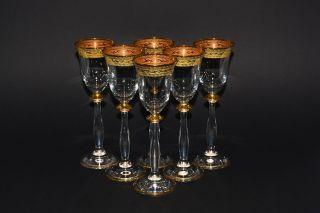 6 Wodka/likörgläser,  60 Ml. ,  Bohemia Kristallglas,  Handbemalt,  Dekor Gold Rand Bild