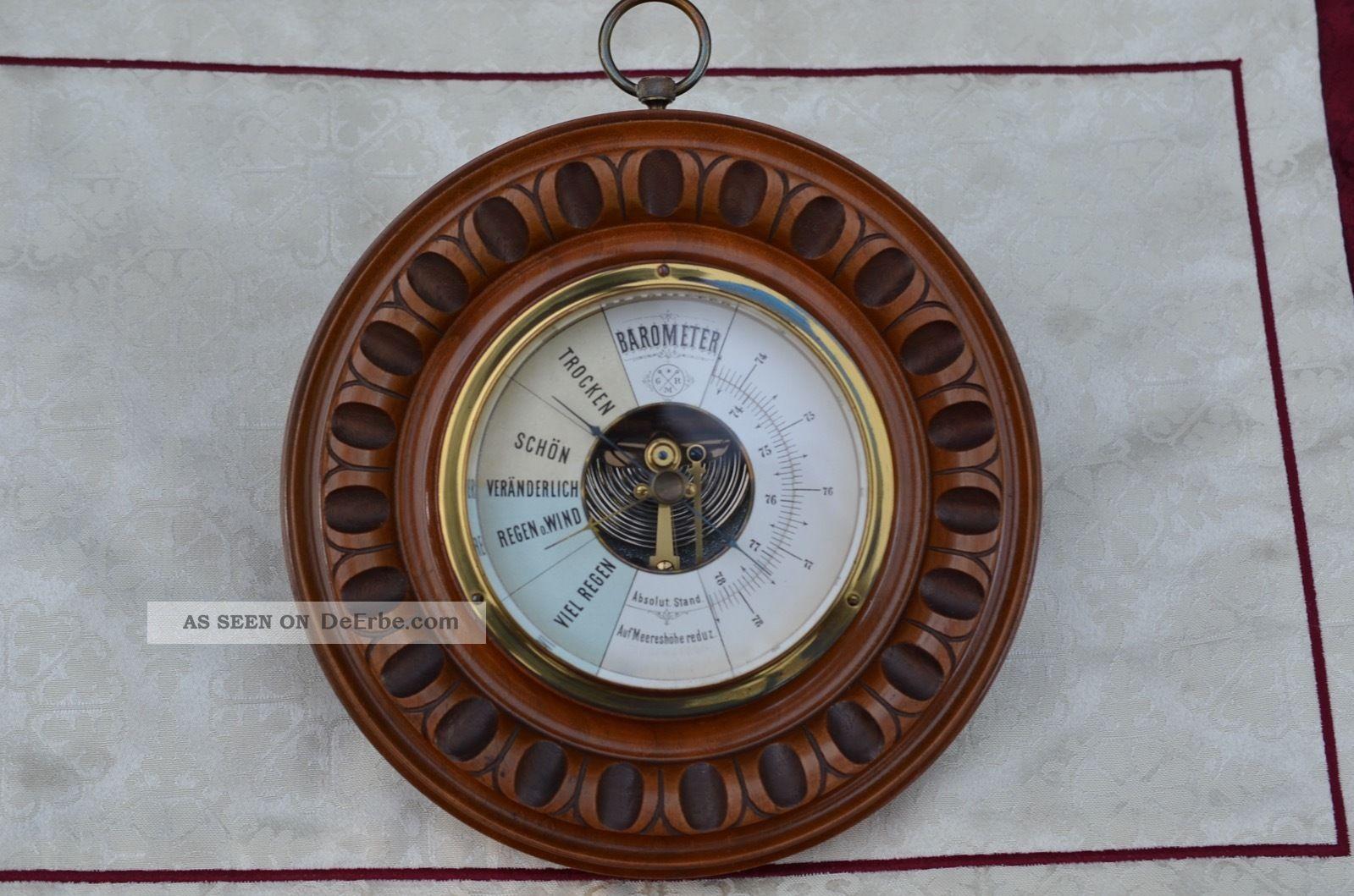 Antikes Rundes Barometer Um 1920/1930 Technik & Instrumente Bild