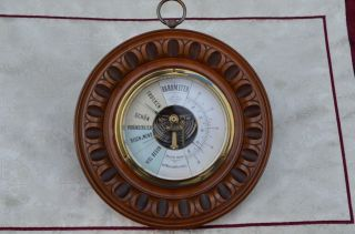 Antikes Rundes Barometer Um 1920/1930 Bild