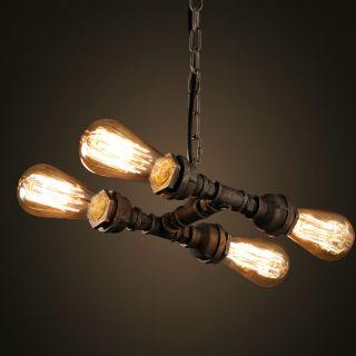 Retro Industrie Fourpipe Deckenlampe Hängelampe Im Rohrdesign Inkl.  Glühlampen Bild