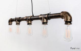 Industrie Loft Iron - Pipe Rohr Hängelampe Inkl.  Vintage Glühlampen Bild