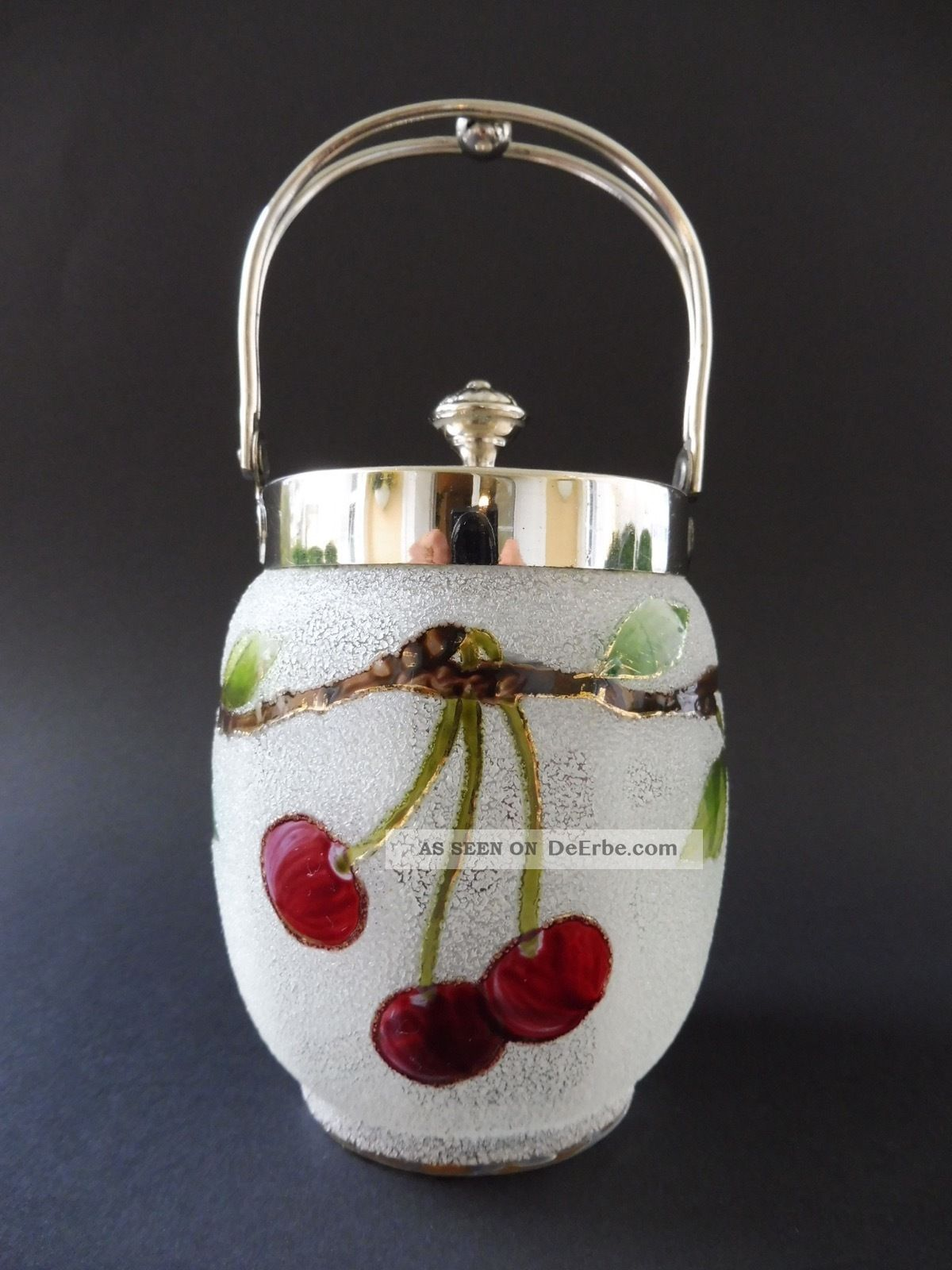 :: Jugendstil Eisglas Konfektdose Kirsche Art Nouveau Cherry Comfit Box Vessel 1890-1919, Jugendstil Bild