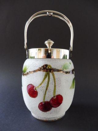 :: Jugendstil Eisglas Konfektdose Kirsche Art Nouveau Cherry Comfit Box Vessel Bild