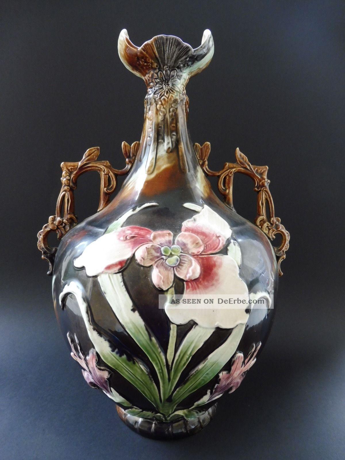 Große Majolika Jugendstil Prunkvase Pomp Vase Art Nouveau Floral Iris Flower I. 1890-1919, Jugendstil Bild