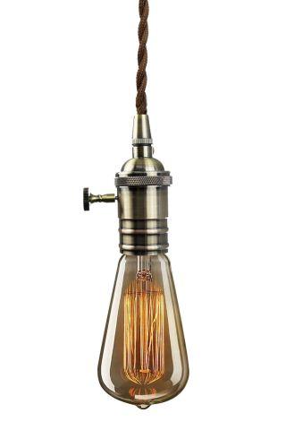Vintage Retro Alt - Messing Pendelleuchte Mit Rendelschalter Mit 40w Glühbirne Bild