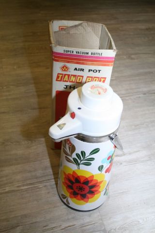 70er Jahre Pump - Thermoskanne Air - Pot Jh - 105 Pumpkanne Blumen - Design Kaffeekanne Bild