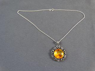 Schmuck Schmuckstück Kette Bernsteinanhänger Silber 925 Danmark N.  E.  From Bild