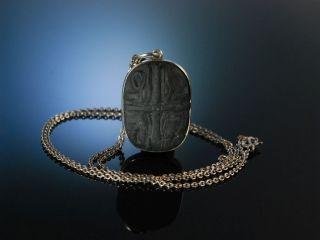 Ägypten Um 1900 AnhÄnger Mit Kette Reliefierter Schiefer Silber Necklace Pendant Bild