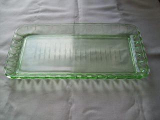 Kuchenplatte 15x30 Cm Uranglas Glasplatte Grünes Glas Servierplatte Rechteckig Bild