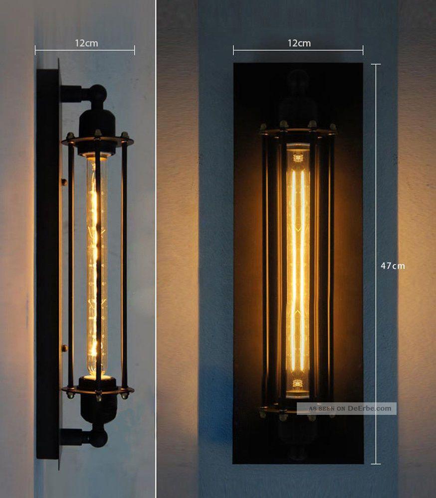 retro industrie tube k fig wandlampe loft beleuchtung. Black Bedroom Furniture Sets. Home Design Ideas