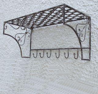 Garderobe Wand Hut Ablage Konsole Eisen 6 Haken 58 Cm Rustikal Landhaus Bild