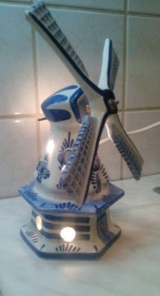 Delfts Blauw Lampe Holland Niederlande Windmühle Signirt Bild