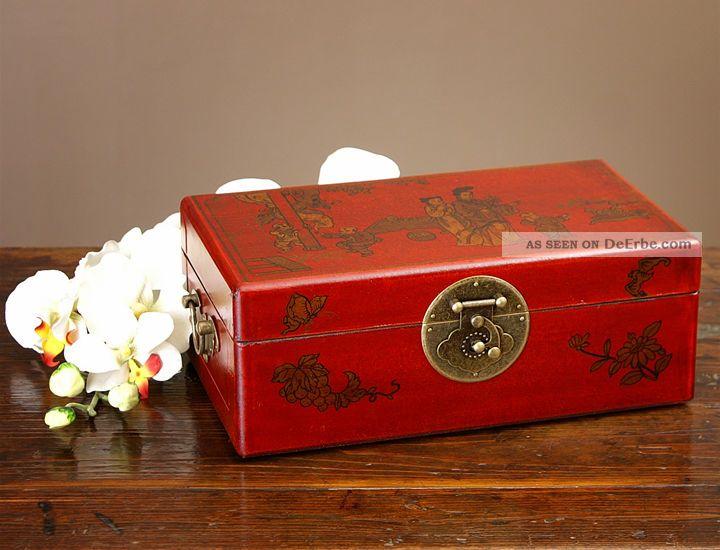 Chinesische Truhe China Schmuckschatulle Rot Gold Möbel Entstehungszeit nach 1945 Bild