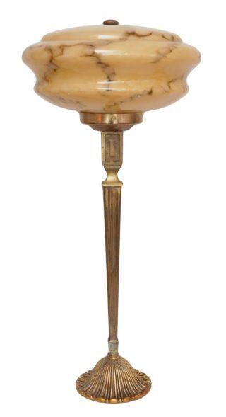 Wunderschöne Große Art Déco Schreibtischleuchte Opalglas 1930 Messing Bild