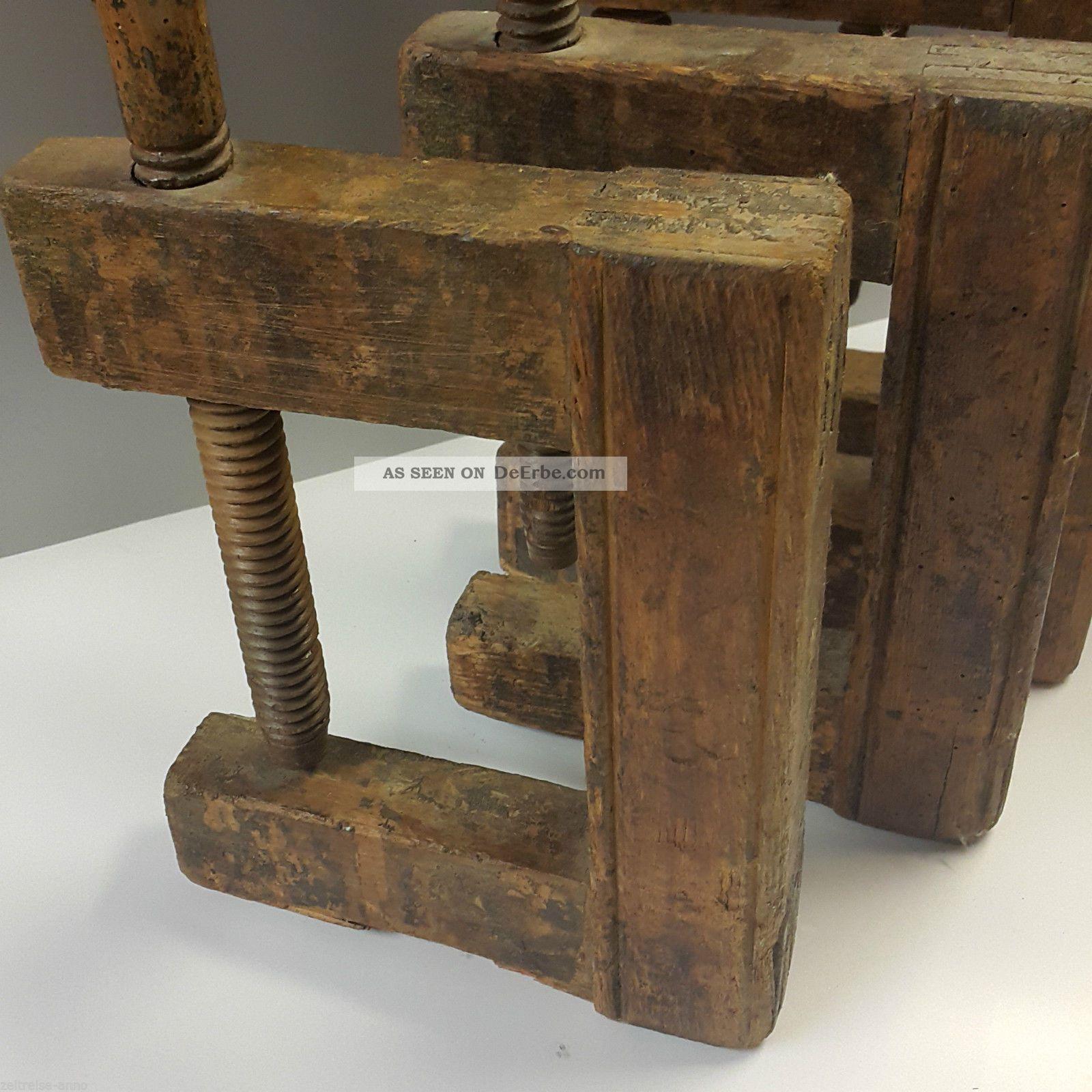6 antike holz schraubzwingen holzgewinde zimmermann tischler schreiner um 1880. Black Bedroom Furniture Sets. Home Design Ideas