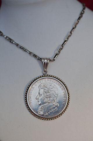 Mozart Silbermedaille Als Anhänger Silber 925 Mit Kette Silber 925 Bild