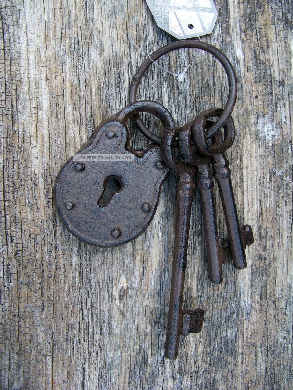 Schl sselbund mit schloss gusseisen nostalgie landhausstil gartendeko key - Gartendeko gusseisen ...