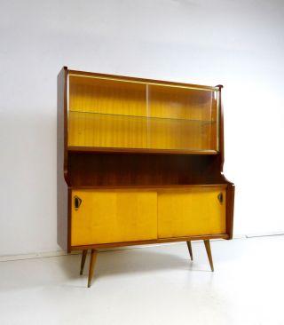 50er Design Vitrine Danish Modern Schrank 60er Rockabilly Vintage Teak Bild