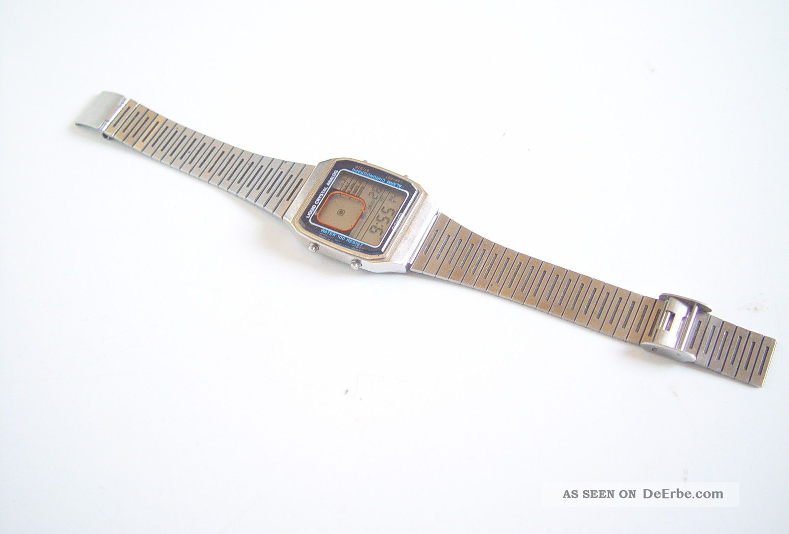 Vintage Anker Lcd Quartz Uhr Armband Uhr Watch Digital Edelstahl 1970-1979 Bild