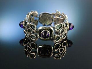 Vintage Sixties Silver Bracelet Armband Silber 835 Amethyst Bartel&sohn Um 1965 Bild