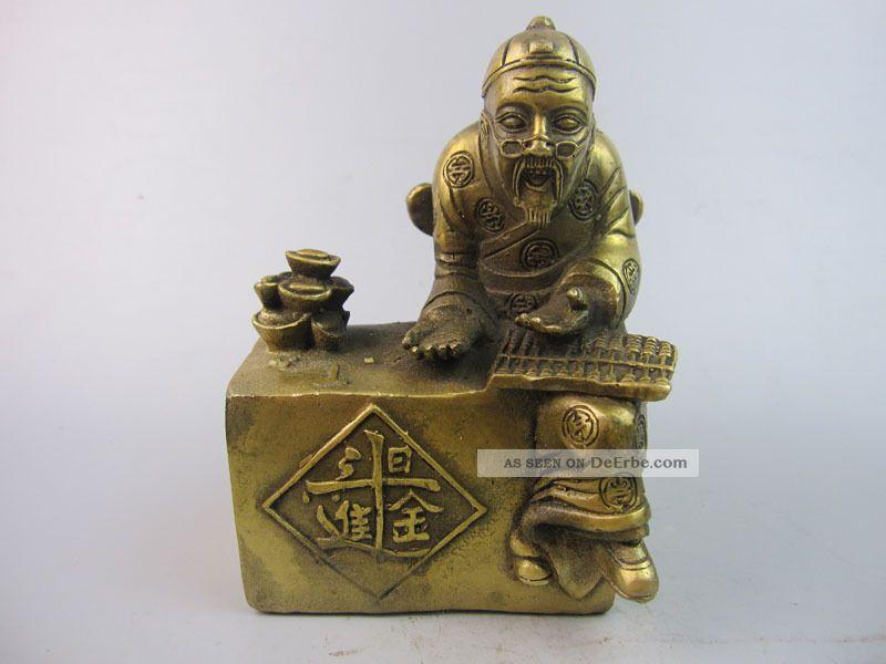 Sehr Kostbares Schöne China Sammlung Messing Die Skulptur,der Alte Reicher Mann Entstehungszeit nach 1945 Bild