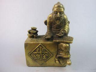 Sehr Kostbares Schöne China Sammlung Messing Die Skulptur,der Alte Reicher Mann Bild
