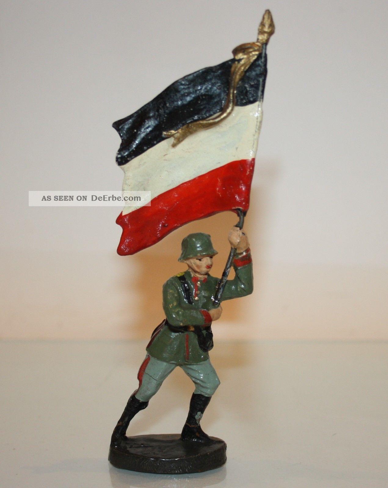 Elastolin (hausser) Massefigur Fahnenträger Im Sprung Mit Massefahne Gefertigt vor 1945 Bild