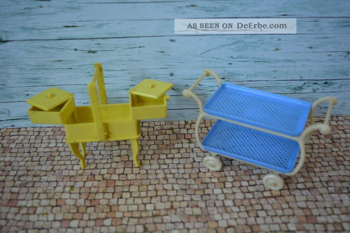 Alter Teewagen Und Nähkasten Für Puppenstuben 50er Kunststoff Original, gefertigt vor 1970 Bild
