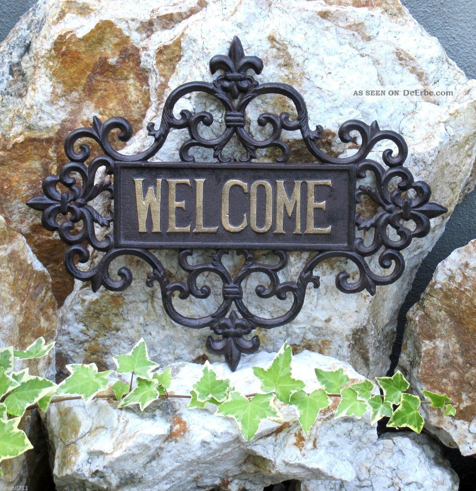 Welcome Schild Wand Relief Landhaus Gusseisen Tür Eingang Wand Deko 41 X 32 Cm Gefertigt nach 1945 Bild