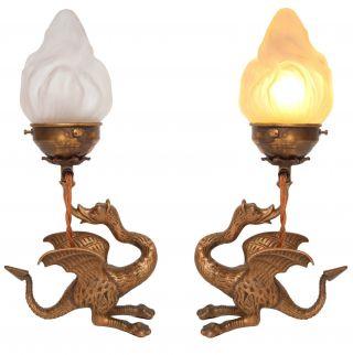 Sammlerstücke 2 X Jugendstil Tischlampe Bronze