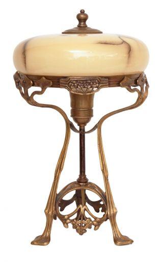 Wunderschöne Jugendstil Tischlampe Messing Tischleuchte
