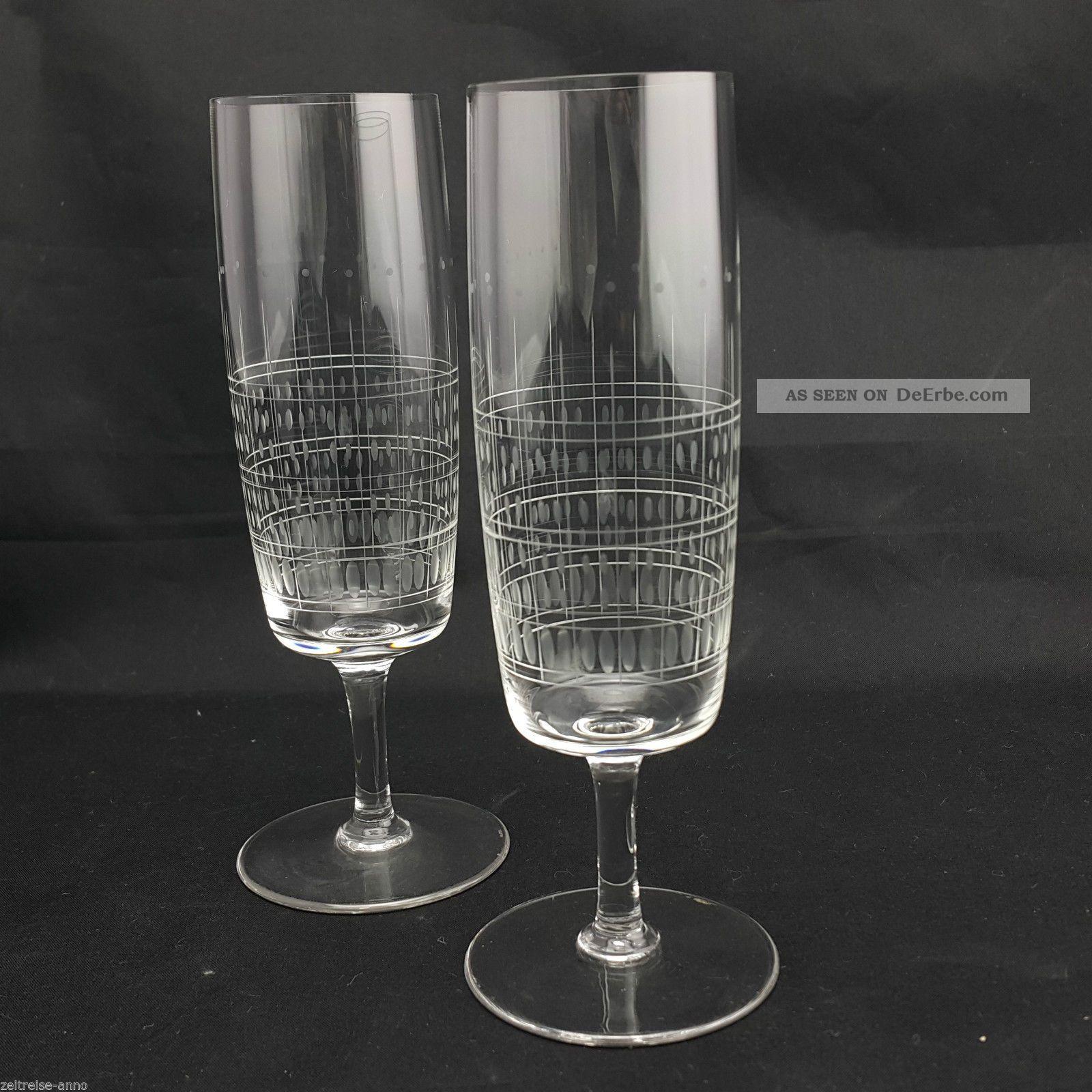 2 Kristall Sektgläser Dünnwandig Feiner Streifen Olivenschliff Vintage Design Kristall Bild