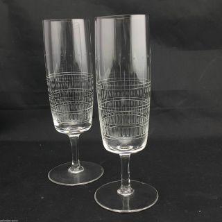 2 Kristall Sektgläser Dünnwandig Feiner Streifen Olivenschliff Vintage Design Bild
