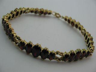 Traumhaft Prächtiges Ungetragenes 250 Norm Gold Armband Mit Böhmischen Granat Bild
