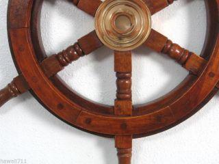 Schiffssteuerrad Maritim Boot Steuerrad Piraten Schiffsrad Holz Messing Deko Bild