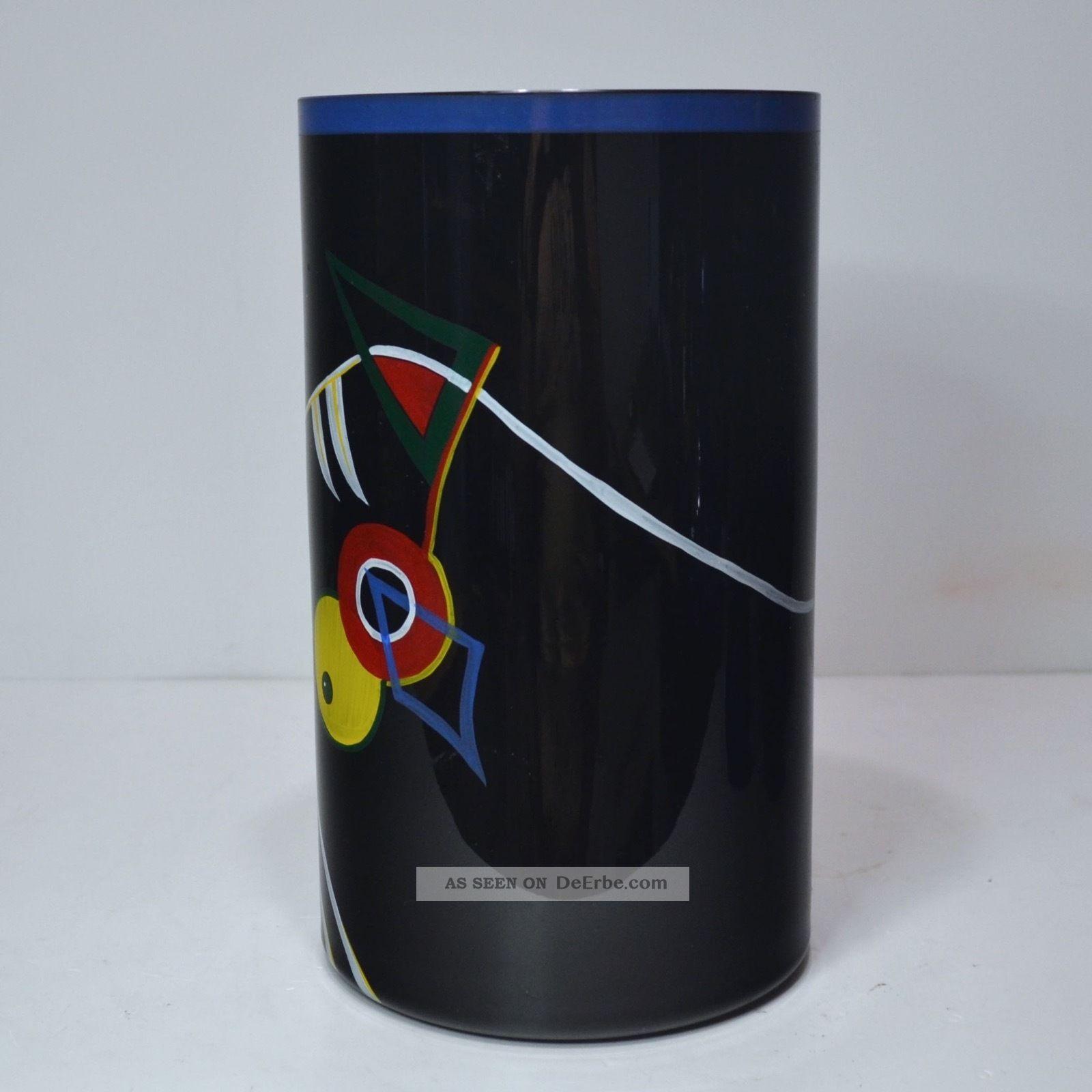 Künstler Zylinder - Vase Entw.  Werner Liebl Für Glashütte Eisch 1992 26/170 Sammlerglas Bild