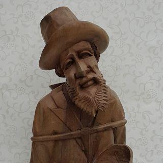 62cm Natur Holzfigur Bettler Wanderer Geschnitzt 2,  5 Kg Top Handarbeit Bild