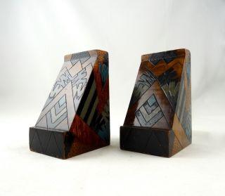 Seltene Art Deco BuchstÜtzen Frankreich 1930 Skulpturen Holz Antik Geometrisch Bild